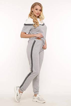 Стильный серый женский костюм футболка и штаны большого размера 50-58, фото 2