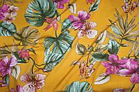 Тканина лен вискозний, натуральний, легкій. № 816 Фон горчічний., фото 1