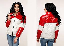 Стеганая демисезонная молодежная комбинированная куртка  F-В-1236