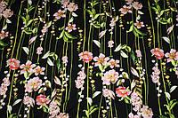 Фон ультра чорний. Тканина лен вискозний, натуральний, легкій. № 822, фото 1