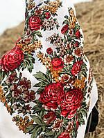 """Красивый павлопосадский платок """" Пионы"""" (120х120 см,  молочный, 80%-шерсть), фото 1"""