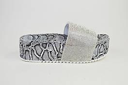 Шлепанцы на платформе 5 Sopra WS02 Серебрисыте рептилия 39 р 24.5 см