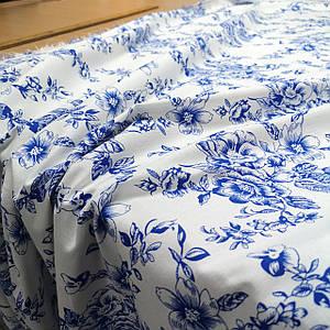 Ткань стрейч лен принт синие цветы