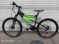 Двухподвесный  горный велосипед Azimut Tornado 26  салатовый яркий 85% собран.в коробке