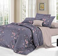 Сатиновое двуспальное постельное белье 180х220 (13949) хлопок 100% KRISPOL Украина