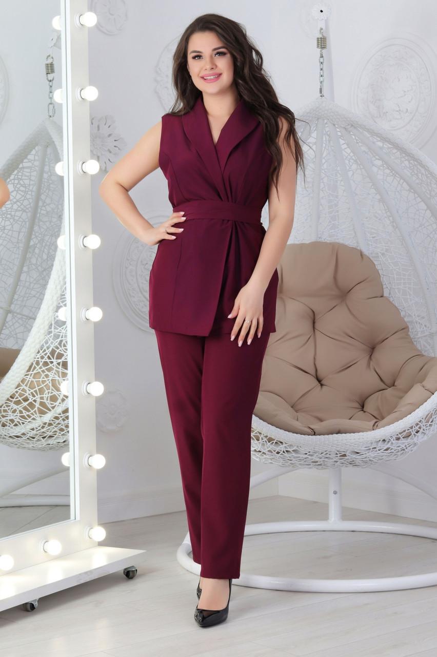 М610 Женский костюм летний марсала / бордовый/ бордо / бордового цвета