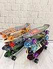 Скейт (пенни борд) Penny board со светящимися колесами  Абстракция Синий, фото 4