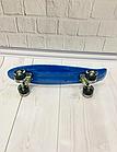 Скейт (пенни борд) Penny board со светящимися колесами  Абстракция Синий, фото 3