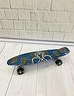 Скейт (пенни борд) Penny board со светящимися колесами  Абстракция Синий, фото 2