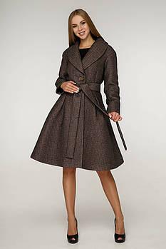 / Размер 44,46,48,50 / Женское демисезонное пальто, приталенного силуэта  с клешевым низом / В-1200 PE 14676