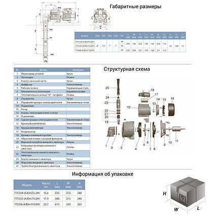 Насос центробежный с внешним эжектором 0.55кВт HSmax 30м Hmax 37м Qmax 20л/мин LEO 3.0 (775334), фото 2