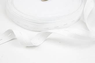 Резинка с перфорацией (под пуговицы) белая 20 мм  № РБ-21-1