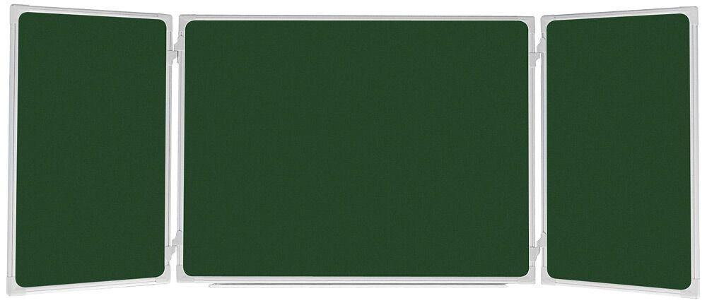 Доска-триптих школьная для мела 2x3 алюминиевая рамка 90 х 120/240 см