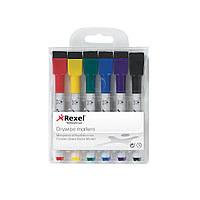 Набор мини-маркеров с губкой и магнитом для сухостираемых досок Rexel Quartet Mini 6 шт
