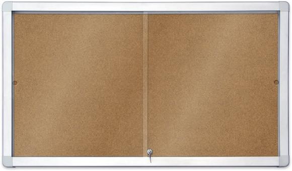 Доска-витрина пробковая 2х3 в алюминиевой рамке 70 x 97 см с передвижными дверцами