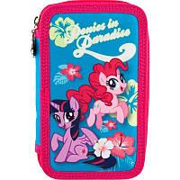 Пенал школьный Kite My Little Pony для девочки 2 отдела на молнии без наполнения Единорог LP18-623