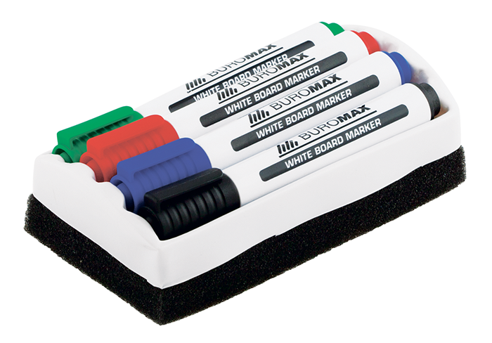 Комплект для сухостираемых досок Buromax 4 маркера + губка