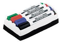 Комплект для сухостираемых досок Buromax 4 маркера + губка, фото 1