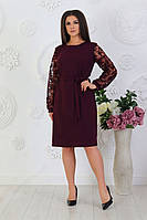 Платье стильное марсала батал