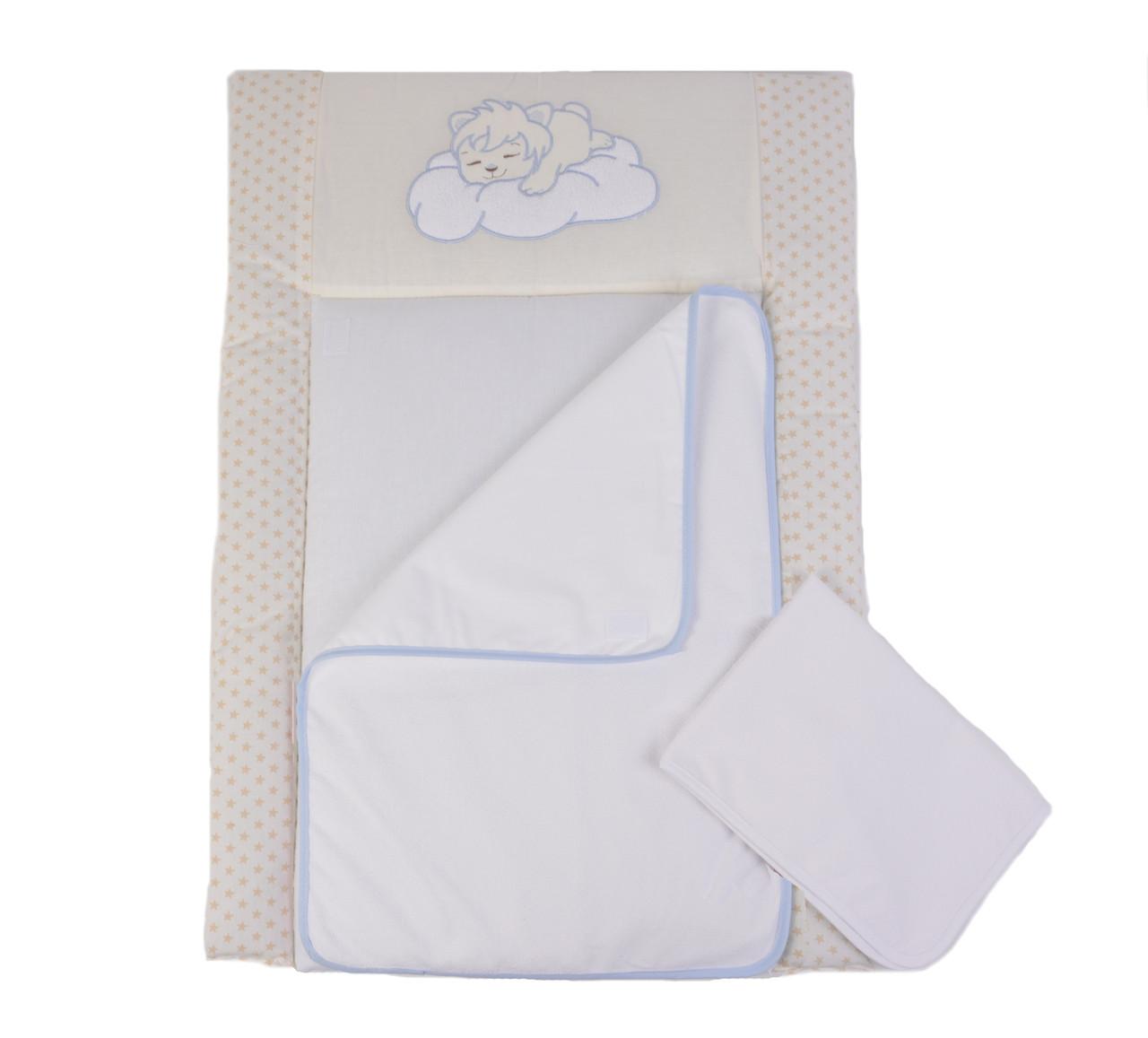 Пеленальный матрас для новорожденных тканевый Veres Sleepyhead blue