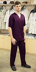 Хирургический медицинский мужской костюм (хлопок) Фиолетовый