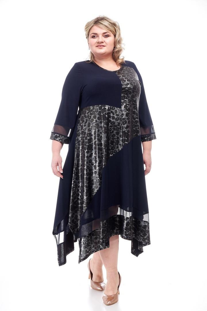 Стильное женское платье батал Хельга синий+змея (62-72)