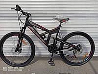 """Велосипед горный двухподвесный Azimut Shock   26"""" черно-серый ( с красным) 85% собран.в коробке"""