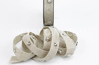 Декоративная лента с звездочкой, золото 20 мм № ЛД-01