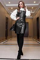 Платье сарафан черного цвета из эко-кожи по фигуре на кнопках, платье эффектное молодежное, фото 1