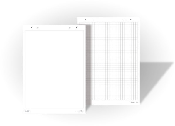 Бумага для флипчартов 2х3 30 листов 83 х 58 см чистая