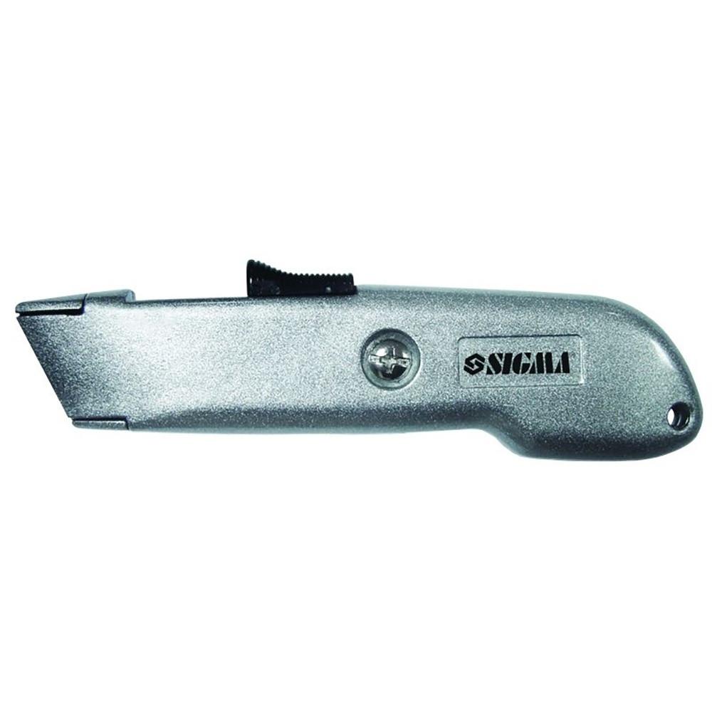 Нож строительный (металлический корпус) лезвие трапеция автовозврат лезвия SIGMA (8212061)