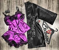 Молодежный комплект домашней одежды халат+пижама 081-055.