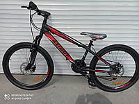 """Горный велосипед Azimut Extreme 26""""D низкая рама 14"""" 21 скорость стальной собран в коробке черно-красный"""