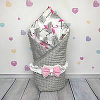 """Конверт-одеяло на выписку """"Розовые Фламинго"""", универсальный всесезонный  - ТМ «Oh My Kids»"""
