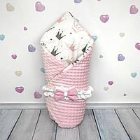 """Конверт-одеяло на выписку """"Crowns in Pink"""", универсальный всесезонный  - ТМ «Oh My Kids»"""
