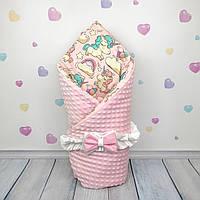 """Конверт-одеяло на выписку """"Pink Unicorns"""", универсальный всесезонный  - ТМ «Oh My Kids»"""