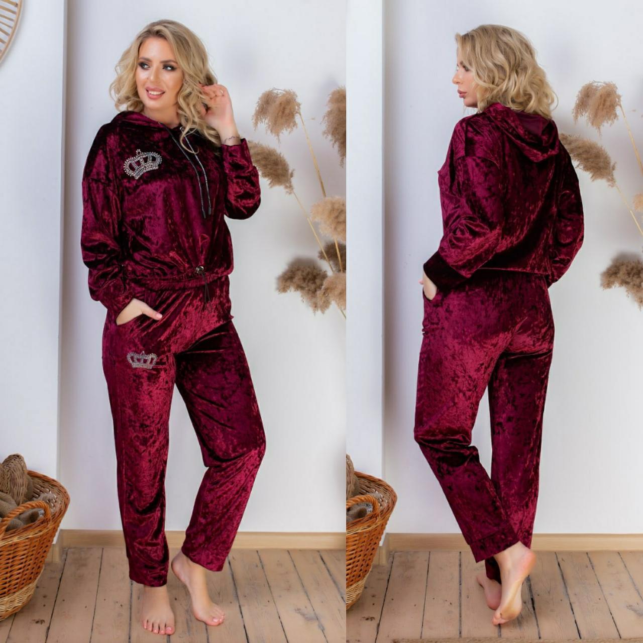 Модный женский велюровый костюм