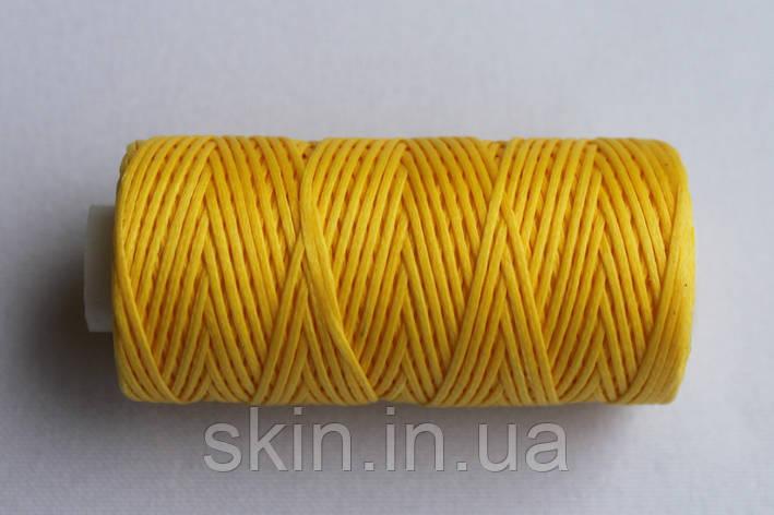Нитка вощёная, плоская, желтого цвета, толщина - 0.8 мм, 50 метров, артикул СК 5614, фото 2