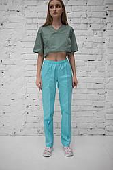 Медицинские брюки женские на резинке Бирюзовые