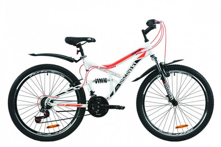 """Велосипед ST 26"""" Discovery CANYON AM2 Vbr с крылом Pl 2020 (бело-черный с оранжевым ), фото 2"""