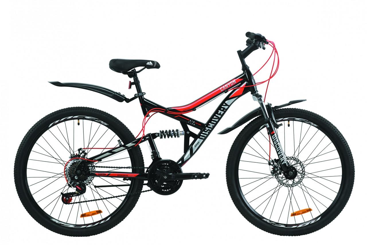 """Велосипед ST 26"""" Discovery CANYON AM2 DD с крылом Pl 2020 (черно-красный с серым)"""