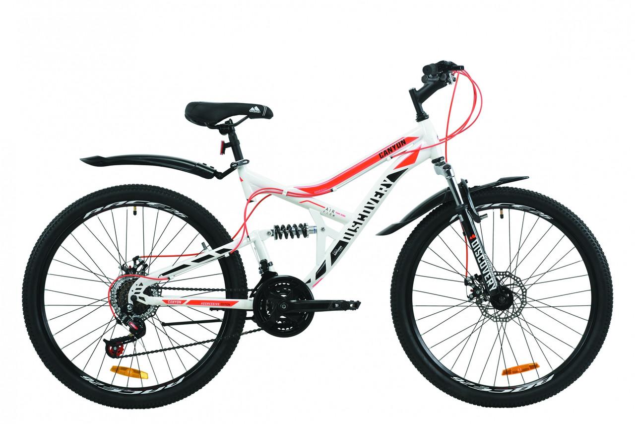 """Велосипед ST 26"""" Discovery CANYON AM2 DD с крылом Pl 2020 (бело-черный с оранжевым )"""