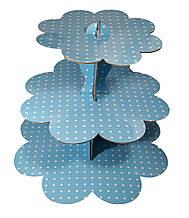 Стойка для капкейков картон. Голубой горошек