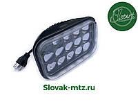 Светодиодная LED фара 43Вт прямоугольная 43W, 15 ламп, дальний и ближний луч 10/30