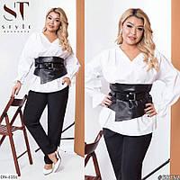 Женская Белая Блуза с кожаным поясом Батал