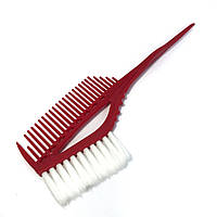 Кисть-расчёска для окрашивания волос DenIS professional с белой щетиной - красная 4119, фото 1
