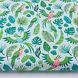 """Клапоть тканини """"Летять папуги і листя пальм"""" (2415а), розмір 33*80 див., фото 2"""