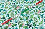 """Клапоть тканини """"Летять папуги і листя пальм"""" (2415а), розмір 33*80 див., фото 6"""