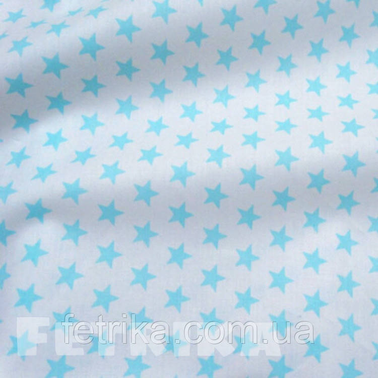 Ткань Сатин мятные звезды на белом фоне (компаньон к единорожкам)
