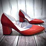 Женские кожаные туфли на невысоком каблуке Возможен отшив в других цветах кожи и замши, фото 2